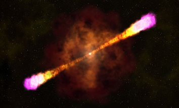 This image provided by NASA's Goddard Space Flight Center shows an artists rendering on how a gamma ray burst occurs with a massive star collapsing and creating a black hole and beaming out focused and deadly light and radiation bursts.