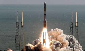 A United Launch Alliance Atlas V rocket carrying NASA's Mars Science Laboratory (MSL) Curiosity rover lifts off from Launch Complex 41 at Cape Canaveral Air Force Station.