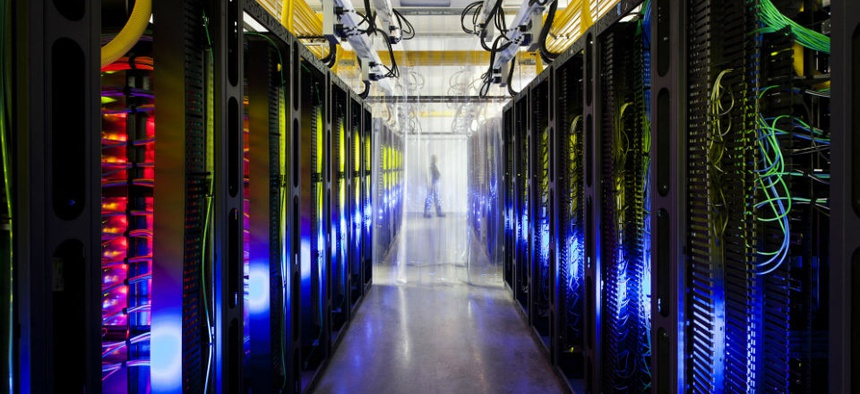An undated file photo made available by Google shows the campus-network room at a data center in Council Bluffs, Iowa.