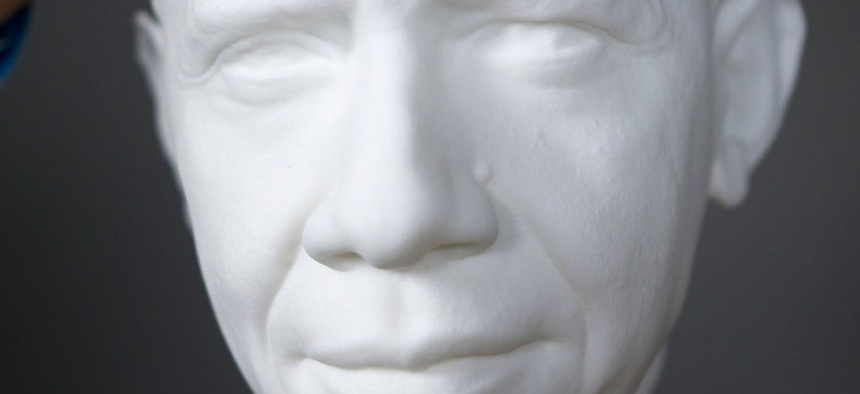 The life mask of the first presidential portrait created from 3-D scan data.