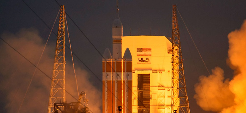 The United Launch Alliance Delta IV Heavy rocket, with NASA's Orion spacecraft mounted atop, lifts off from Cape Canaveral Air Force Station's Space Launch Complex 37 at at 7:05 a.m. EST, Friday, Dec. 5.