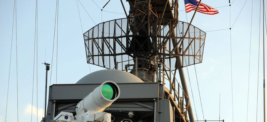 The Laser Weapon system aboard the USS Ponce taken Nov. 16, 2014.