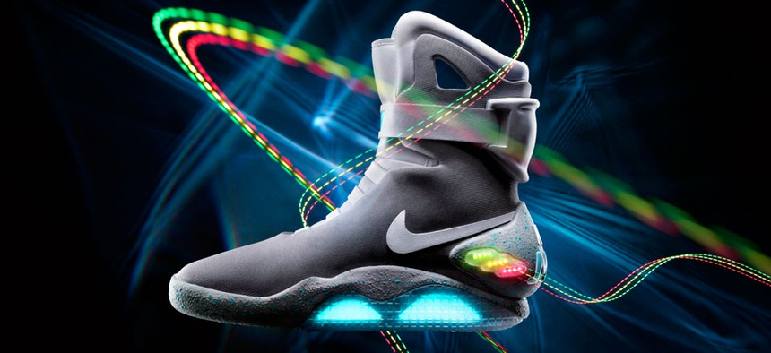 """The 2011 Nike Mag is based on a glowing pair that appeared in the popular 1989 movie """"Back to the Future II."""""""