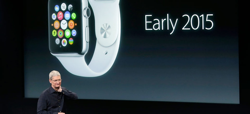 Apple CEO Tim Cook discusses the new Apple Watch during an event at Apple headquarters on Thursday, Oct. 16, 2014.
