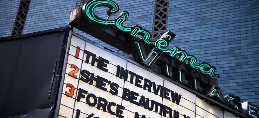 """The Interview"" is listed on the Cinema Village movie theater marquee, Thursday, Dec. 25, 2014, in New York."