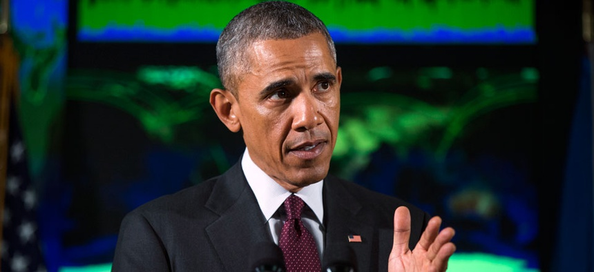 President Barack Obama speaks at the National Cybersecurity and Communications Integration Center in Arlington, Va.