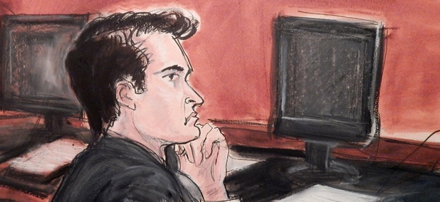In a courtroom drawing, defendant Ross Ulbricht listens to proceedings from the defense table in January.