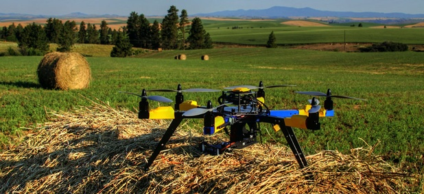 A multi-rotor hexacopter, an unmanned aircraft that farmer Robert Blair purchased to monitor his farm in Kendrick, Idaho.