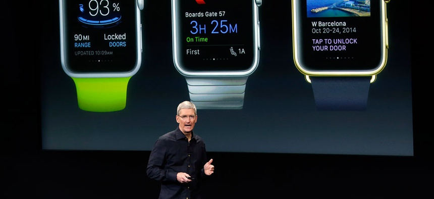 Apple CEO Tim Cook discusses the new Apple Watch during an event at Apple headquarters on Thursday, Oct. 16, 2014 in Cupertino, Calif.