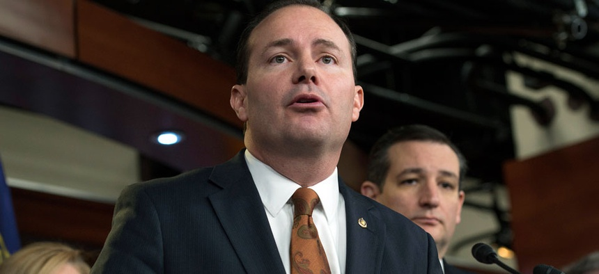 Sen. Mike Lee, R-Utah, speaks during a news conference on Capitol Hill in Washington, Thursday, Feb. 12, 2015.