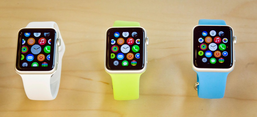 Apple Watches appear on display, Friday, April 10, 2015, in New York. Apple has started taking orders for the watch on its website and the Apple Store app.