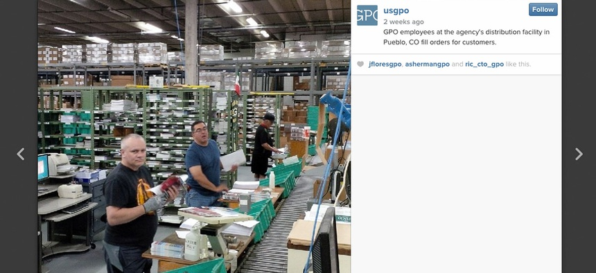 The US GPO's Instagram photo of agency employees working at a distribution facility.