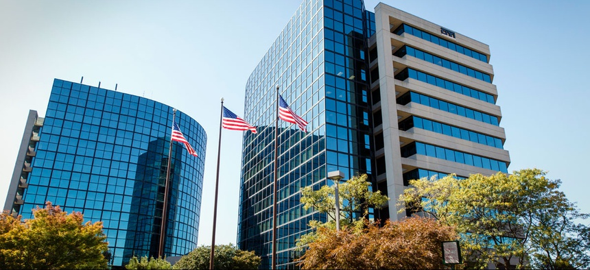 the USIS building in Falls Church, Va. A cyber-attack similar to previous hacker intrusions from China penetrated computer networks for months at USIS, the government's leading security clearance contractor.
