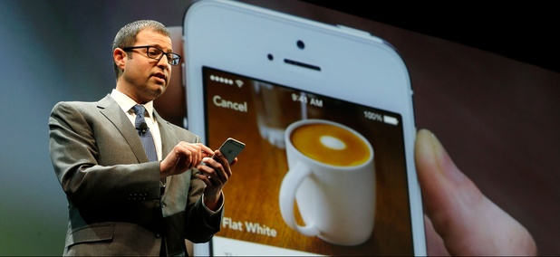Adam Brotman, Starbucks chief digital officer, talks about the company's new mobile ordering app Wednesday, March 18, 2015.