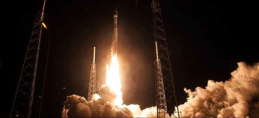 The United Launch Alliance Atlas V rocket with NASA's Magnetospheric Multiscale (MMS) spacecraft onboard launches from Cape Canaveral.