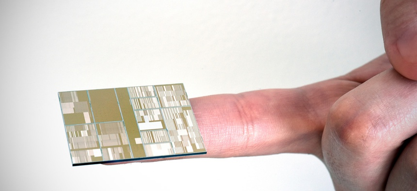 Close up of IBM 7nm node test chip produced at SUNY Poly CNSE in Albany, NY.