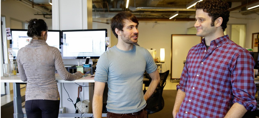 Dustin Moskovitz, right, at his new company.