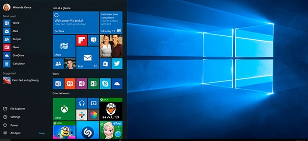 The Windows 10 start screen