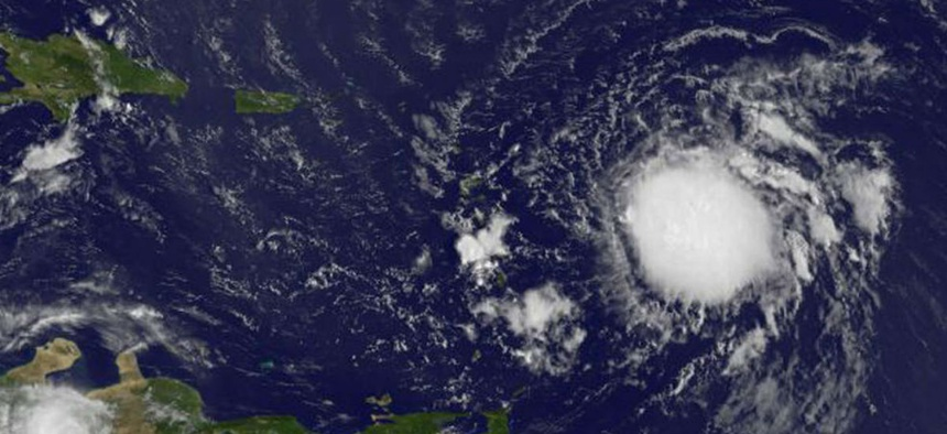 This visible image of Tropical Storm Erika was taken from NOAA's GOES-East satellite on Aug. 26 at 7:45 a.m. EDT as it headed toward the Lesser Antilles.