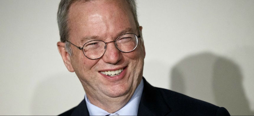"""Google Executive Chairman Eric Schmidt smiles during a meeting about the """"right to be forgotten"""" in Madrid."""