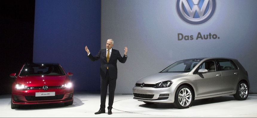 Jonathan Browning, President and CEO of Volkswagen Group of America, presents the 2014 Volkswagon Golf and it's GTI variant.