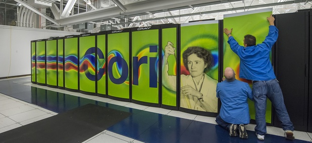 NERSC's Cray Cori supercomputer's graphic panels being installed at Wang Hall.