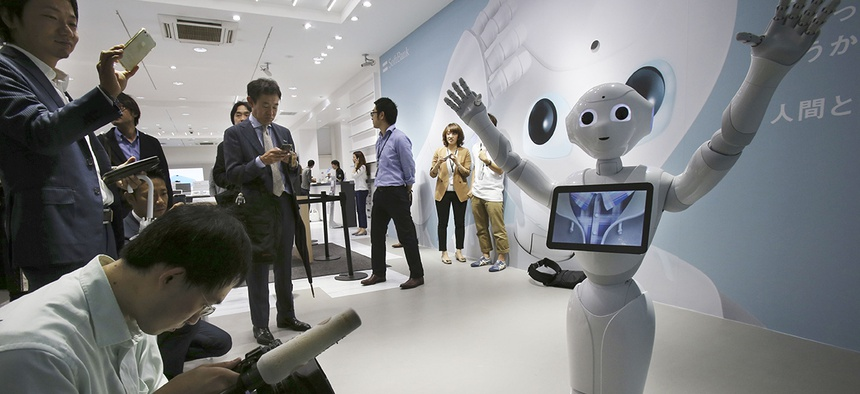 Humanoid robot Pepper is on display at SoftBank Mobile shop in Tokyo.