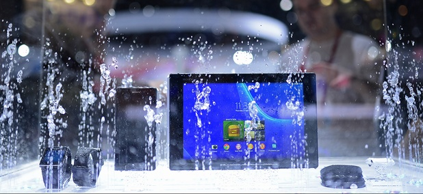Sony devices are sprayed with water at the Mobile World Congress