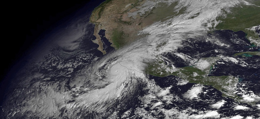 This NOAA satellite image taken on Oct. 23, 2015 shows the Category 5 Hurricane Patricia moving over Mexico's Pacific Coast.