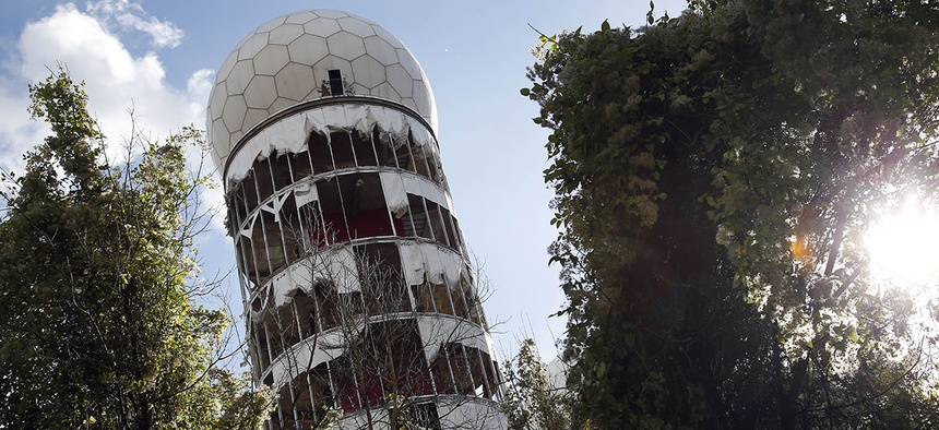 The cover of a former NSA radar tower on top of the Teufelsberg (devil mountain) is ripped in Berlin, Germany.