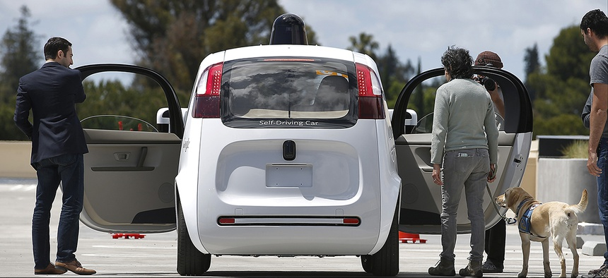 Google's new self-driving prototype car during a demonstration at the Google campus in Mountain View, Calif.