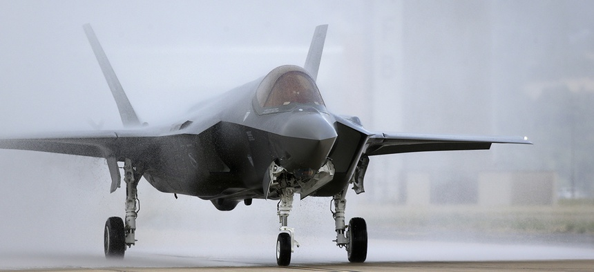 An F-35 arrives at it new operational base Wednesday, Sept. 2, 2015.