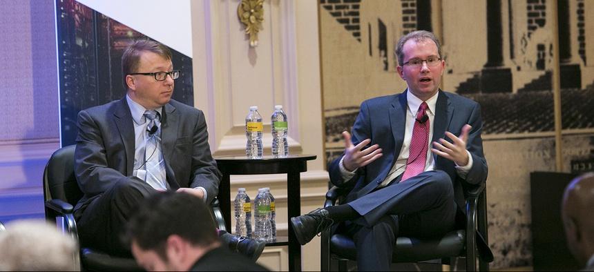 Joint IT Service Provider - Pentagon CTO Thomas Sasala, left and FCC CIO David Bray, right, discusses IT modernization.