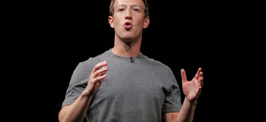 Facebook CEO Mark Zuckerberg speaks during the Samsung Galaxy Unpacked 2016 event on the eve of this week's Mobile World Congress wireless show, in Barcelona, Spain.