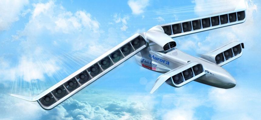 An artistic representation of the LightningStrike VTOL-X plane concept.