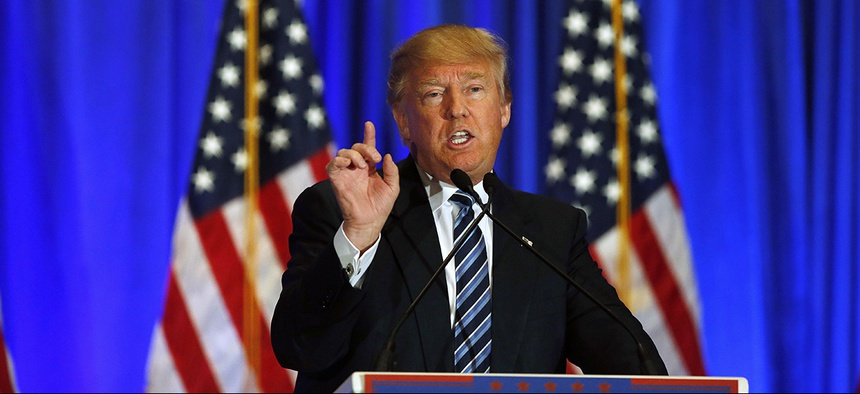 Republican presidential candidate Donald Trump speaks during a news conference Saturday, March 5, 2016.