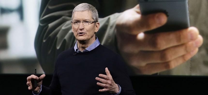 Apple CEO Tim Cook speaks at an event to announce new products at Apple headquarters, Monday, March 21, 2016.