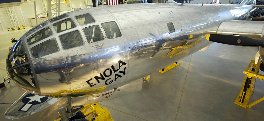 The Enola Gay, the Boeing B-29 Superfortress that dropped the atomic bomb on Japan in World War II, in the Smithsonian National Air and Space Museums Steven F. Udvar-Hazy Center