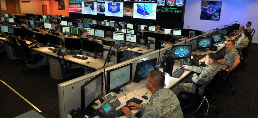 Personnel of the 624th Operations Center, located at Joint Base San Antonio - Lackland, conduct cyber operations.