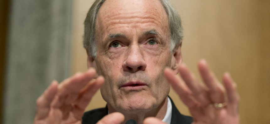 Senate Homeland Security and Government Affairs Committee ranking member Sen. Thomas Carper, D-Del., questions Beth Cobert, President Barack Obama's nominee to head the Office of Personnel Management (OPM), on Capitol Hill in Washington, Thursday, Feb. 4,