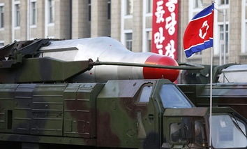 Medium range Nodong ballistic missiles are paraded in Pyongyang, North Korea during the 70th anniversary celebrations of its ruling party's creation.