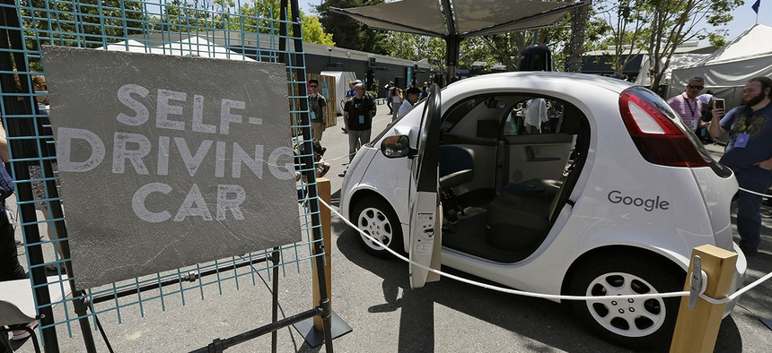 A Google self-driving car is seen on display Wednesday, May 18, 2016, at Google's I/O conference in Mountain View, Calif.