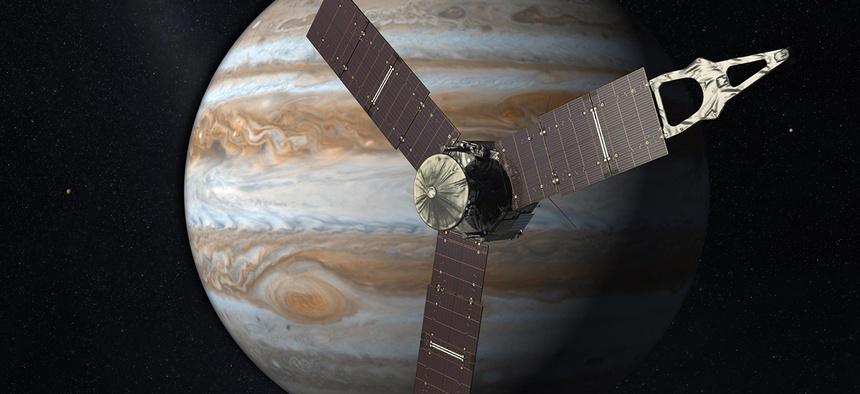 Launching from Earth in 2011, the Juno spacecraft will arrive at Jupiter in 2016 to study the giant planet from an elliptical, polar orbit.