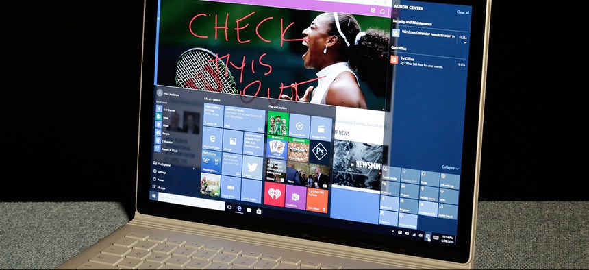 Windows 10 operating on a Microsoft Surface computer