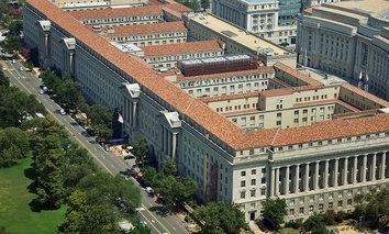 An aerial view of the Commerce Department building in Washington, DC
