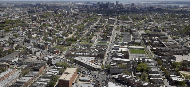 An aerial view of the city of Baltimore