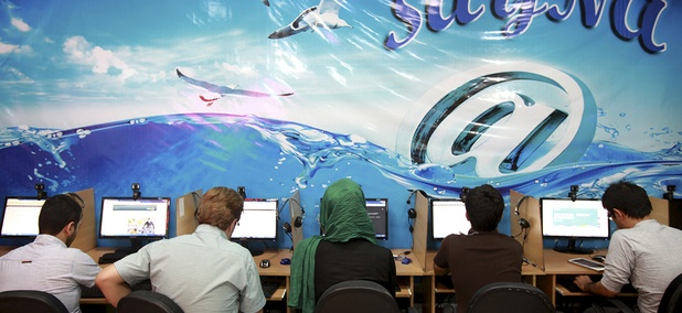 Iranians surf the Internet at a cafe in Tehran, Iran.