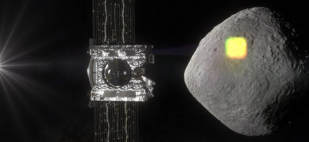 This artist's rendering made available by NASA in July 2016 shows the mapping of the near-Earth asteroid Bennu by the OSIRIS-REx spacecraft.