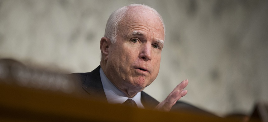 Sen. John McCain, R-Ariz. speaks on Capitol Hill in Washington.