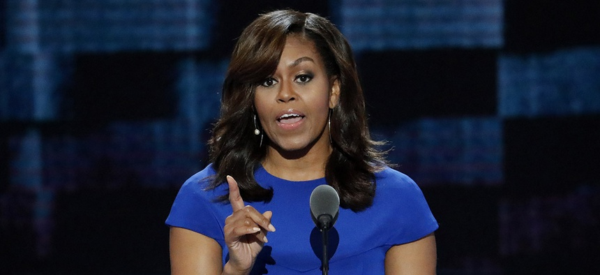 first Lady Michelle Obama at the Democratic National Convention in Philadelphia.
